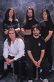 POMPANO BEACH FL - MARCH 04: Mike Portnoy, Jordan Rudess, James LaBrie, John Petrucci and John Myung of Dream Theater pose for a portrait at The Pompano Beach Amphitheater on March 4, 2000 in Pompano Beach, Florida. Photo by Larry Marano © 2000