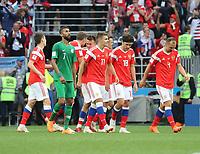 celebrate the goal, Torjubel zum 5:0 um Roman Zobnin (Russland, Russia) - 14.06.2018: Russland vs. Saudi Arabien, Eröffnungsspiel der WM2018, Luzhniki Stadium Moskau