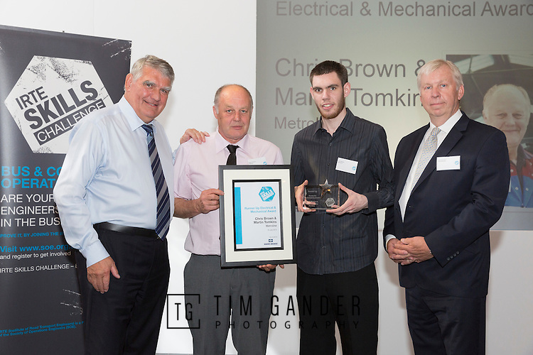 17/07/2015 The IRTE Skills Challenge 2015 prize-giving takes place at The National Motorcycle Museum, Birmingham. Sir Moir Lockhead (left) presents the Runner Up Electrical and Mechanical Award to Martin Tomkins (2nd left) and Chris Brown of Metroline with sponsor John Simmons of Knorr-Bremse (far right).