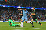 Sergio Aguero of Manchester City rounds Yann Sommer of Borussia Monchengladbach to score his hat rick goal during the UEFA Champions League Group C match at The Etihad Stadium, Manchester. Picture date: September 14th, 2016. Pic Simon Bellis/Sportimage