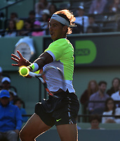 KEY BISCAYNE, FL - MARCH 29: Rafael Nadal of Spain looses to Fernando Verdasco of Spain during day 7 of the Miami Open at Crandon Park Tennis Center on March 29, 2015 in Key Biscayne, Florida.<br /> <br /> <br /> People:  Rafael Nadal