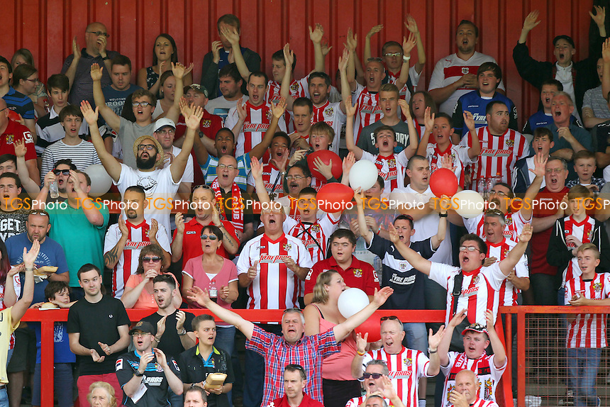 Stevenage fans applaud their team ahead of kick-off during Stevenage vs Notts County, Sky Bet League Two Football at the Lamex Stadium, Stevenage, England on 08/08/2015