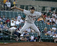 August 11, 2004:  Pitcher Andrew Lorraine of the Ottawa Lynx, Triple-A International League affiliate of the Baltimore Orioles, during a game at Frontier Field in Rochester, NY.  Photo by:  Mike Janes/Four Seam Images