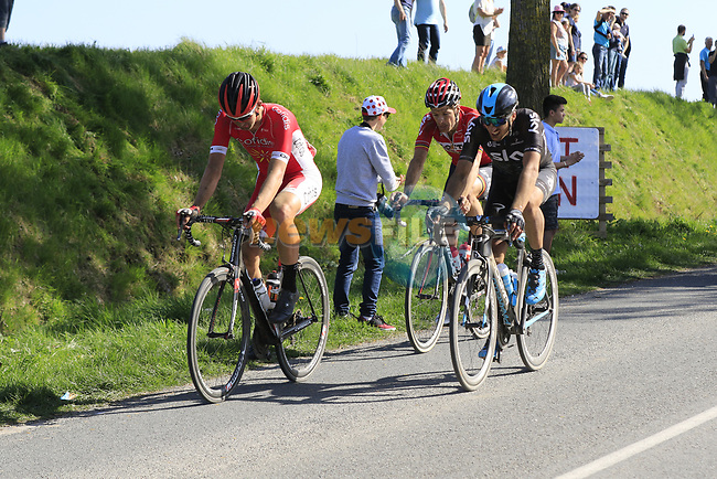 Dimitri Claeys (BEL) Cofidis, Gianni Moscon (ITA) Team Sky and Jurgen Roelandts (BEL) Lotto-Soudal come off  pave sector 10 Merignies a Avelin during the 115th edition of the Paris-Roubaix 2017 race running 257km Compiegne to Roubaix, France. 9th April 2017.<br /> Picture: Eoin Clarke | Cyclefile<br /> <br /> <br /> All photos usage must carry mandatory copyright credit (&copy; Cyclefile | Eoin Clarke)