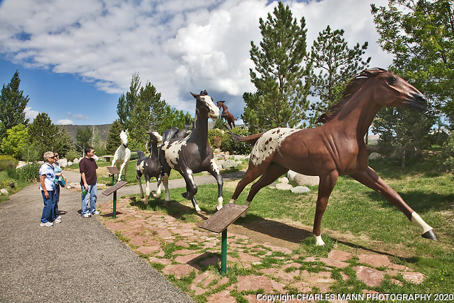 The  garden at the Hubbard Museum of  the American West in Ruidoso, New Mexico,  features large sculptures demonstrating the various breeds of horses