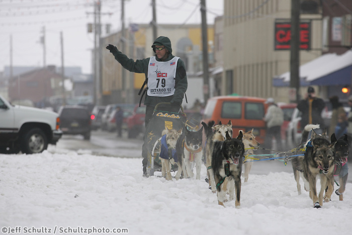 Jeff King on Nome's Front street nearing the finish line.  End of the  2005 Iditarod Trail Sled Dog Race.