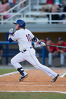 Dash Winningham (10) of the Kingsport Mets follows through on his swing against the Elizabethton Twins at Hunter Wright Stadium on July 9, 2015 in Kingsport, Tennessee.  The Twins defeated the Mets 9-7 in 11 innings. (Brian Westerholt/Four Seam Images)