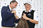 Colin Montgomerie (SCO) gets a present of traditional lederhosen from Marco Kaussler BMW on his birthday during Day 1 of the BMW International Open at Golf Club Munchen Eichenried, Germany, 23rd June 2011 (Photo Eoin Clarke/www.golffile.ie)