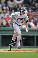 Left fielder Andrew Cain (36) of the Augusta GreenJackets bats in a game against the Greenville Drive on Sunday, April 12, 2015, at Fluor Field at the West End in Greenville, South Carolina. Augusta won, 2-1. (Tom Priddy/Four Seam Images)