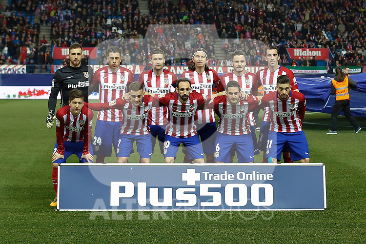 Atletico de Madrid´s Oblak, Juanfran, Gimenez, Diego Godin, Filipe Luis, Koke, Gabi, Saul Niguez, Carrasco, Antoine Griezmann and Vietto during 2015-16 La Liga match between Atletico de Madrid and Deportivo de la Coruna at Vicente Calderon stadium in Madrid, Spain. March 12, 2016. (ALTERPHOTOS/Victor Blanco)