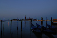 Early morning view of San Giorgio Maggiore, looking out from the water bus/ Vaporetti stop S. Zaccaria