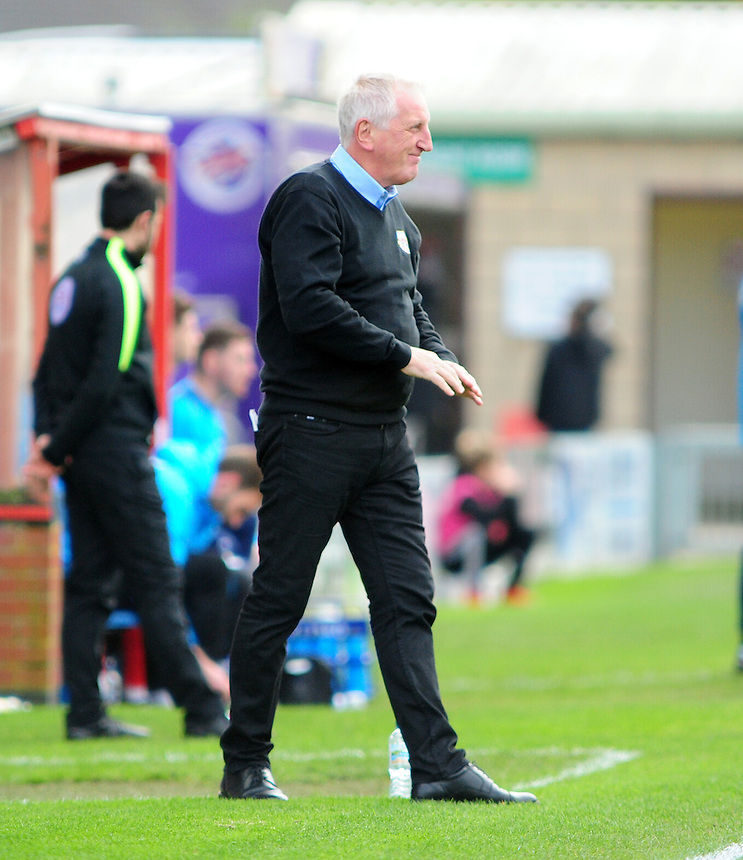 Eastleigh manager Ronnie Moore covers his face after a wasted effort<br /> <br /> Photographer Andrew Vaughan/CameraSport<br /> <br /> Vanarama National League - Lincoln City v Eastleigh - Saturday 22nd October 2016 - Sincil Bank - Lincoln<br /> <br /> World Copyright &copy; 2016 CameraSport. All rights reserved. 43 Linden Ave. Countesthorpe. Leicester. England. LE8 5PG - Tel: +44 (0) 116 277 4147 - admin@camerasport.com - www.camerasport.com