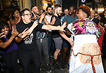 Justin Prescott with Michael Mayer and cast during the Broadway Opening Night Performance Actors' Equity Legacy Robe honoring Justin Prescott at the Hudson Theatre on July 26, 2018 in New York City.