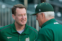 Charlotte 49ers men's basketball head coach Mark Price was on hand to throw out the first pitch prior to the game against the North Carolina State Wolfpack at BB&T Ballpark on March 31, 2015 in Charlotte, North Carolina.  The Wolfpack defeated the 49ers 10-6.  (Brian Westerholt/Four Seam Images)