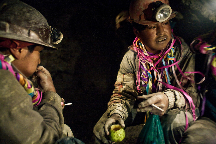 Young miners of La Negra partying inside the mine on the day of Compadres.