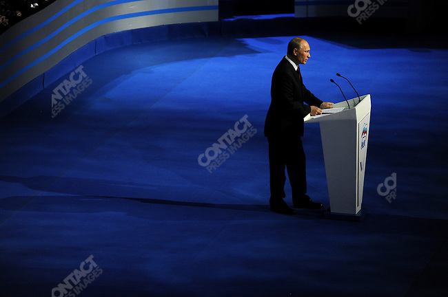 Vladimir Putin, the Russian Prime Minister, spoke to delegates at the United Russia Congress in Moscow where his candidature for the upcoming presidential elections in March was approved by the congress. Moscow, Russia, November 27, 2011