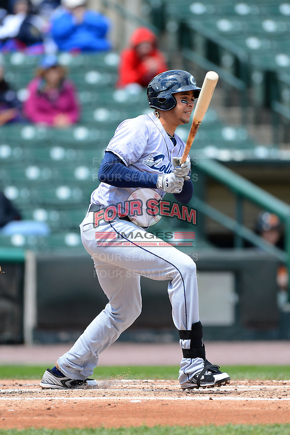 Columbus Clippers shortstop Juan Diaz #13 during a game against the Rochester Red Wings on May 12, 2013 at Frontier Field in Rochester, New York.  Rochester defeated Columbus 5-4.  (Mike Janes/Four Seam Images)