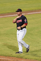AZL Indians 1 manager Larry Day (27) walks off the field after a visit to the mound during an Arizona League playoff game against the AZL Rangers at Goodyear Ballpark on August 28, 2018 in Goodyear, Arizona. The AZL Rangers defeated the AZL Indians 1 7-4. (Zachary Lucy/Four Seam Images)