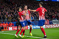 Saul Niguez and Angel Correa of Atletico de Madrid during the match between Atletico de Madrid and Borussia Dortmund of UEFA Champions League 2018-2019, group A, date 4 played at the Wanda Metropolitano Stadium. Madrid, Spain, 6 NOV 2018.