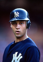 Derek Jeter of the New York Yankees at Anaheim Stadium in Anaheim,California during the 1996 season. (Larry Goren/Four Seam Images)