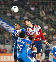 CARSON, CA - April 21, 2012: Philadelphia Union midfielder Gabriel Gomez (6) and Chivas USA forward Juan Pablo Angel (9) during the Chivas USA vs Philadelphia Union match at the Home Depot Center in Carson, California. Final score Philadelphia Union 1, Chivas USA 0.
