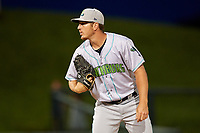 Lynchburg Hillcats relief pitcher Billy Strode (44) looks in for the sign during the second game of a doubleheader against the Frederick Keys on June 12, 2018 at Nymeo Field at Harry Grove Stadium in Frederick, Maryland.  Frederick defeated Lynchburg 8-1.  (Mike Janes/Four Seam Images)