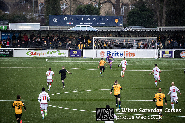 Maidstone United 1 Sutton United 0, 17/03/2018. The Gallagher Stadium, National League. Maidstone forward Jai Reason is through on goal. Attendance: 2,065. Photo by Simon Gill.