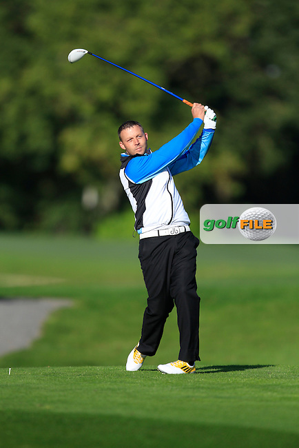 David Floey (Dromoland Castle G.C) on the 13th tee during Round 1 of The Cassidy Golf 103rd Irish PGA Championship in Roganstown Golf Club on Thursday 10th October 2013.<br /> Picture:  Thos Caffrey / www.golffile.ie