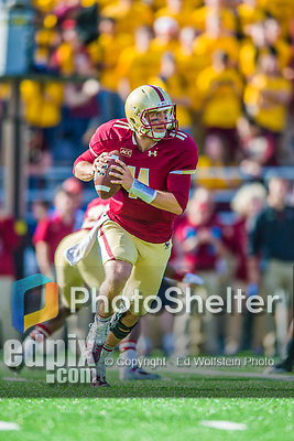 2 November 2013: Boston College Eagles quarterback Chase Rettig (11) scrambles to find a downfield receiver in the third quarter against the Virginia Tech Hokies at Alumni Stadium in Chestnut Hill, MA. The Eagles defeated the Hokies 34-27. Mandatory Credit: Ed Wolfstein-USA TODAY Sports *** RAW (NEF) Image File Available ***