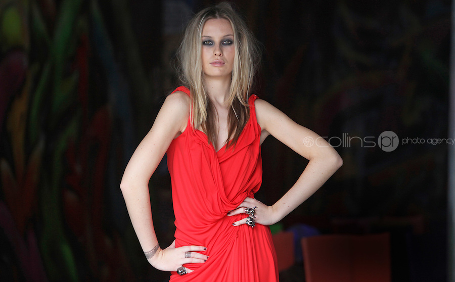 08/09/2010.Model.Chloe wearing Red Jersey & Chiffon gown by Amanda Wakeley with nude Bianca Sling back by christian Louboutin at Harvey Nichols Autumn/Winter Collection 2010 at Harvey Nichols Dundrum Shopping Centre, Dublin..Photo: Gareth Chaney Collins