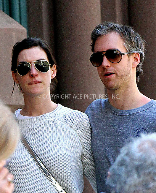 WWW.ACEPIXS.COM<br /> <br /> May 3 2015, New York City<br /> <br /> Anne Hathaway and Adam Shulman out in Manhattan on May 3 2015 in New York City<br /> <br /> By Line: Nancy Rivera/ACE Pictures<br /> <br /> <br /> ACE Pictures, Inc.<br /> tel: 646 769 0430<br /> Email: info@acepixs.com<br /> www.acepixs.com