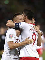 Football: Uefa Nations League match Italy vs Poland, Renato Dall'Ara stadium, Bologna, Italy, September 7, 2018. <br /> Poland's Piotr Zielinski (l) celebrates after scoring with his captain Robert Lewandowski (r) during the Uefa Nations League match between Italy and Poland at the Renato Dall'Ara stadium, Bologna, Italy, September 7, 2018. <br /> <br /> UPDATE IMAGES PRESS/Isabella Bonotto