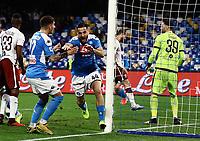 29th February 2020; Stadio San Paolo, Naples, Campania, Italy; Serie A Football, Napoli versus Torino; Konstantinos Manolas of Napoli celebrates after scoring on 20 minutes for 1-0