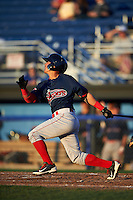 Lowell Spinners shortstop Jeremy Rivera (3) at bat during a game against the Batavia Muckdogs on August 12, 2015 at Dwyer Stadium in Batavia, New York.  Batavia defeated Lowell 6-4.  (Mike Janes/Four Seam Images)