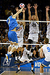 LOS ANGELES - MAY 5:  Nick Amado #25 of the Long Beach State 49ers defends against the spike by Christian Hessenauer #17 of the UCLA Bruins during the Division 1 Men's Volleyball Championship on May 5, 2018 at Pauley Pavilion in Los Angeles, California. The Long Beach State 49ers defeated the UCLA Bruins 3-2. (Photo by John W. McDonough/NCAA Photos via Getty Images)