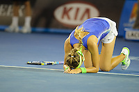 MELBOURNE, 28 JANUARY - Victoria Azarenka (BLR) celebrates after winning the women's finals match against Maria Sharapova (RUS) on day thirteen of the 2012 Australian Open at Melbourne Park, Australia. (Photo Sydney Low / syd-low.com)