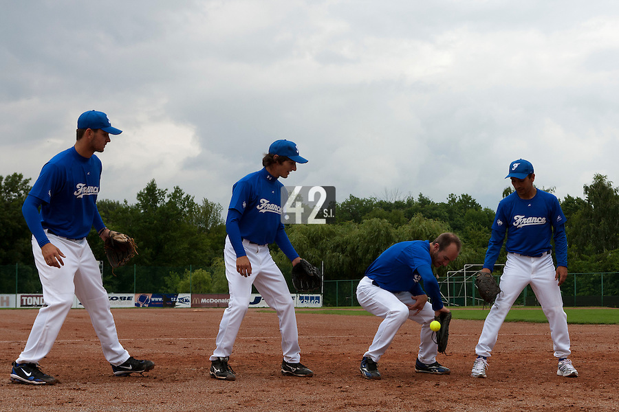 21 June 2011: Quentin Becquey, Eloi Secleppe, Joris Bert, Thomas Meley are seen  prior UCLA Alumni 5-3 win over France, at the 2011 Prague Baseball Week, in Prague, Czech Republic.