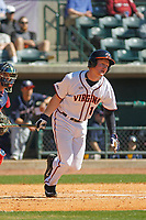University of Virginia Cavaliers first baseman Pavin Smith (10) at bat during a game against the Liberty University Flames at Joseph P. Riley Ballpark on February 17, 2017 in Charleston, South Carolina. Virginia defeated Liberty 10-2. (Robert Gurganus/Four Seam Images)