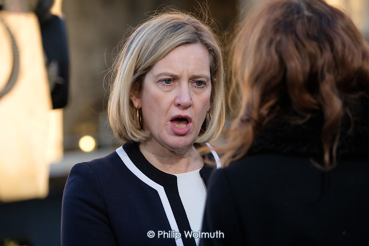 Amber Rudd MP is interviewed on College Green, opposite the Houses of Parliament, London, on the day Conservative MPs launched a challenge to Theresa May's leadership of the party.
