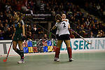 Berlin, Germany, February 01: Luisa Steindor #2 of Duesseldorfer HC celebrates after scoring the leading goal during the 1. Bundesliga Damen Hallensaison 2014/15 final hockey match between Duesseldorfer HC (white) and HTC Uhlenhorst Muehlheim (green) on February 1, 2015 at the Final Four tournament at Max-Schmeling-Halle in Berlin, Germany. Final score 4-1 (1-0). (Photo by Dirk Markgraf / www.265-images.com) *** Local caption *** Luisa Steindor #2 of Duesseldorfer HC, Elisa Graeve #26 of Duesseldorfer HC