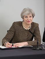 British Prime Minister Theresa May signs the Bay City Region deal, at the Liberty Stadium, Swansea, Wales, UK. Monday 20 March 2017.