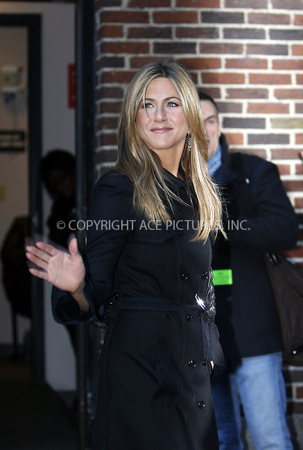 WWW.ACEPIXS.COM . . . . .  ....December 17 2008, New York City....Actress Jennifer Aniston made an appearance at the 'Late Show with David Letterman' on December 17 2008 in New York City....Please byline: NANCY RIVERA- ACE PICTURES.... *** ***..Ace Pictures, Inc:  ..tel: (646) 769 0430..e-mail: info@acepixs.com..web: http://www.acepixs.com