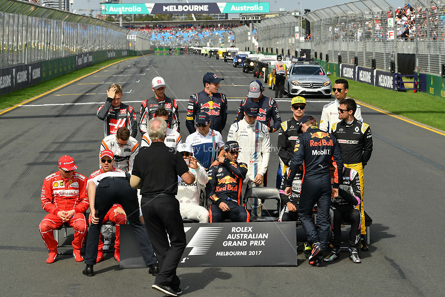 March 26, 2017: The drivers prepare for the annual drivers photograph at the 2017 Australian Formula One Grand Prix at Albert Park, Melbourne, Australia. Photo Sydney Low