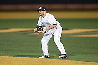 Wake Forest Demon Deacons second baseman Nate Mondou (10) on defense against the Georgetown Hoyas at David F. Couch Ballpark on February 19, 2016 in Winston-Salem, North Carolina.  The Demon Deacons defeated the Hoyas 3-1.  (Brian Westerholt/Four Seam Images)