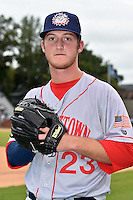 Hagerstown Suns pitcher Robbie Dickey #23 before a game against the Asheville Tourists at McCormick Field September 8, 2014 in Asheville, North Carolina. The Tourists defeated the Suns 16-7. (Tony Farlow/Four Seam Images)