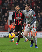 Liverpool's Andrew Robertson (right) under pressure from Bournemouth's Joshua King (left) <br /> <br /> Photographer David Horton/CameraSport<br /> <br /> The Premier League - Bournemouth v Liverpool - Saturday 8th December 2018 - Vitality Stadium - Bournemouth<br /> <br /> World Copyright © 2018 CameraSport. All rights reserved. 43 Linden Ave. Countesthorpe. Leicester. England. LE8 5PG - Tel: +44 (0) 116 277 4147 - admin@camerasport.com - www.camerasport.com