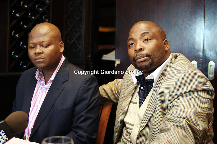 "DURBAN - 21 May 2007 - Lawyer Barnabas Xulu and Pasteor Peete Mbambo at a press conference where they debunked newspaper reports that that claimed the two were involved in concocting the recent.""assassination plot"" against ANC deputy president Jacob Zuma..Picture: Giordano Stolley/Allied Picture Press"