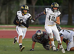 Torrance, CA 09/19/15 - Marcello Merola (Peninsula #8) and AJ Seymour (Peninsula #13) in action during the Peninsula Panthers - Torrance Tartars Varsity football game at Torrance High School