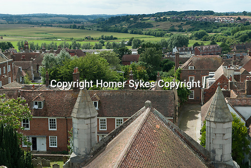 Rye East Sussex UK. Roof tops  view from the top of the church tower.