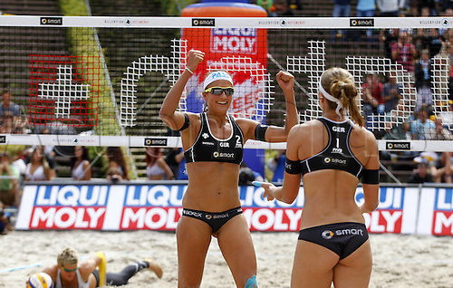 14.07.2012. Berlin, Germany.  Beach Volleyball Swatch World Tour 2012 Ilka Semmler front right and Katrin Holt Wick Germany celebrate
